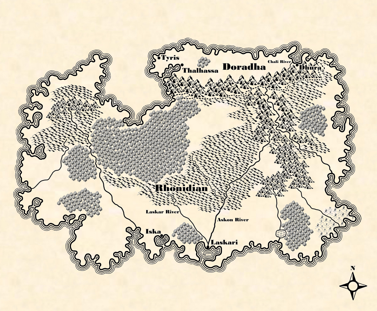 Rhonidianic Continent Map